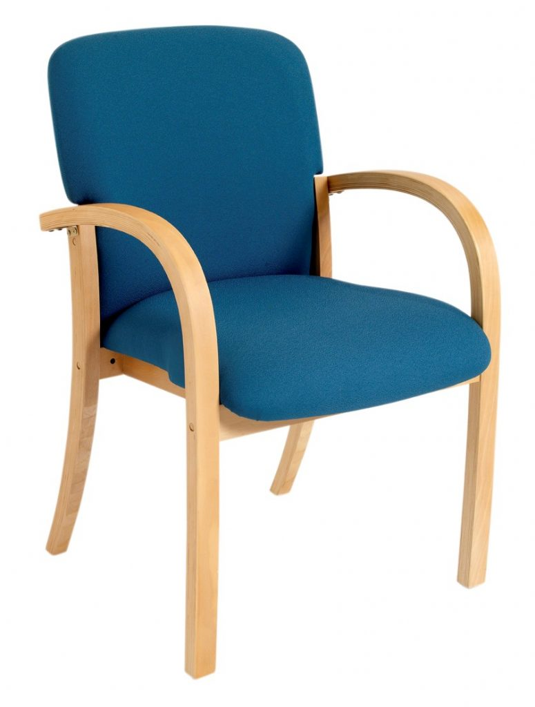 Blue wooden frame meeting chair with arms