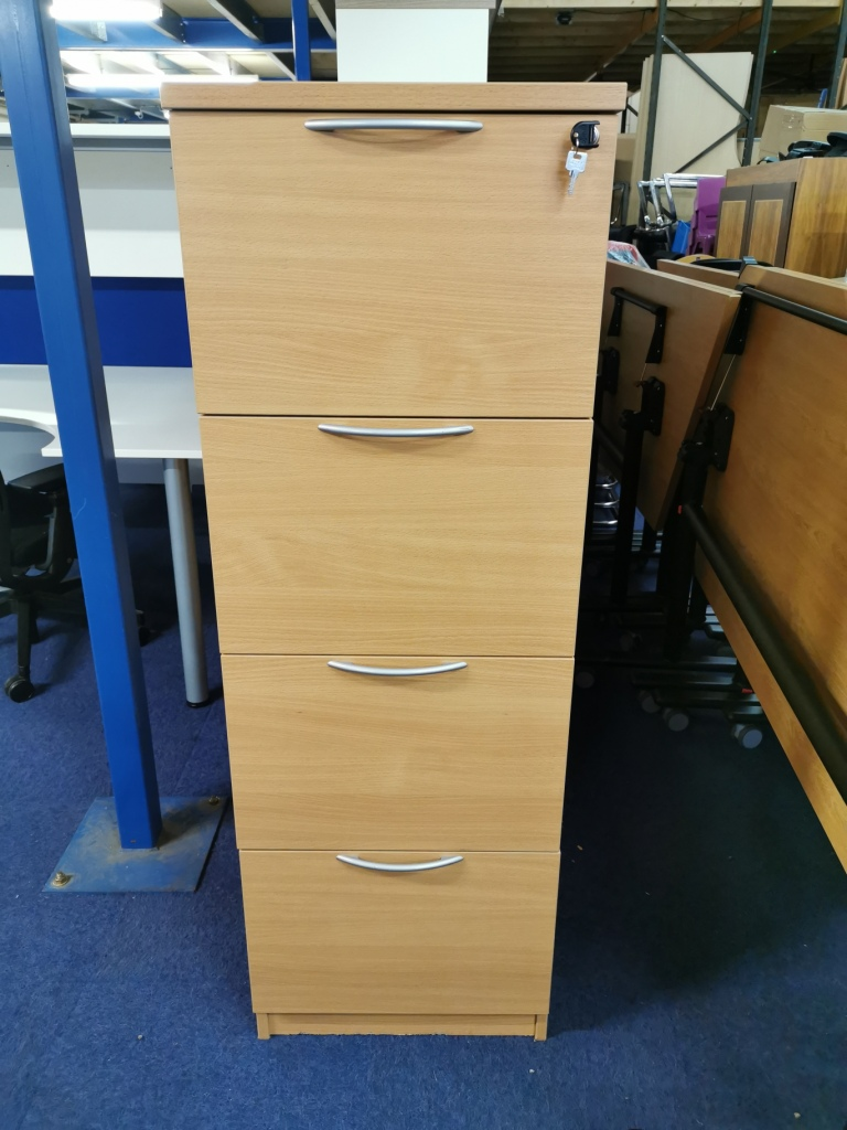 Used beech 4 drawer filing cabinet