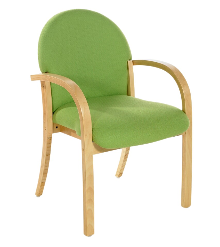 Green Wooden Frame meeting chair with arms