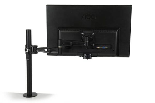single monitor arm with fitted screen - black