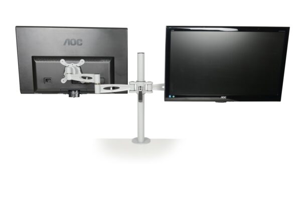dual monitor arm showing computer screens