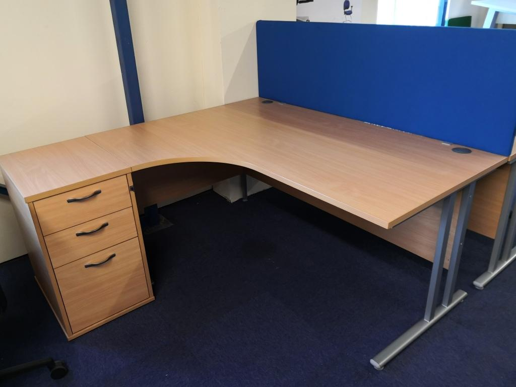 Beech radial left hand desk with desk high pedestal with silver legs