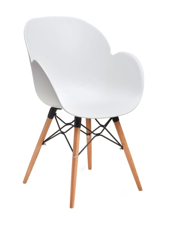 Linton white tub plastic chair with wooden frame