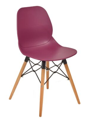 Linton burgundy plastic chair with wooden frame