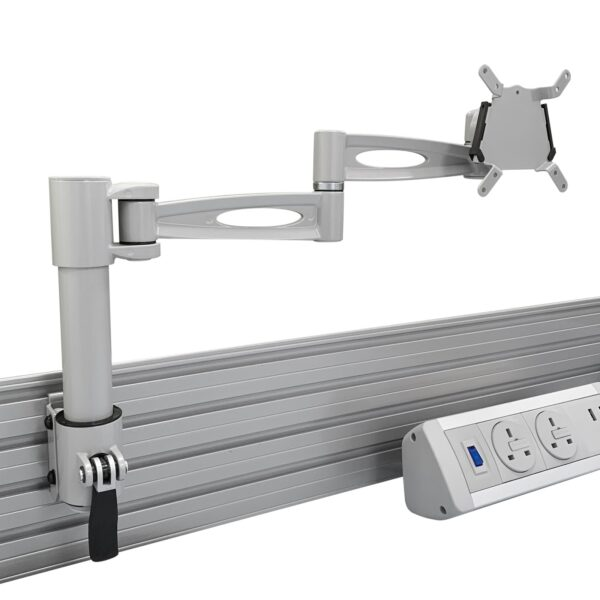 white tool bar monitor arm with power module