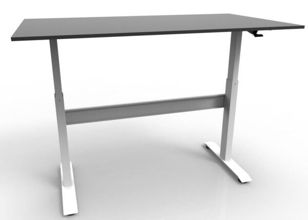 Height adjustable desk with white frame