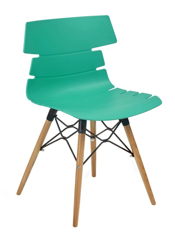 Hetton turquoise plastic chair with wooden legs