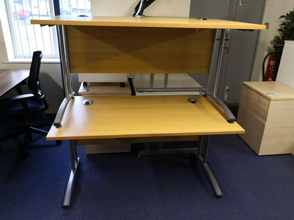 2 stacked Oak Straight Desk with silver legs