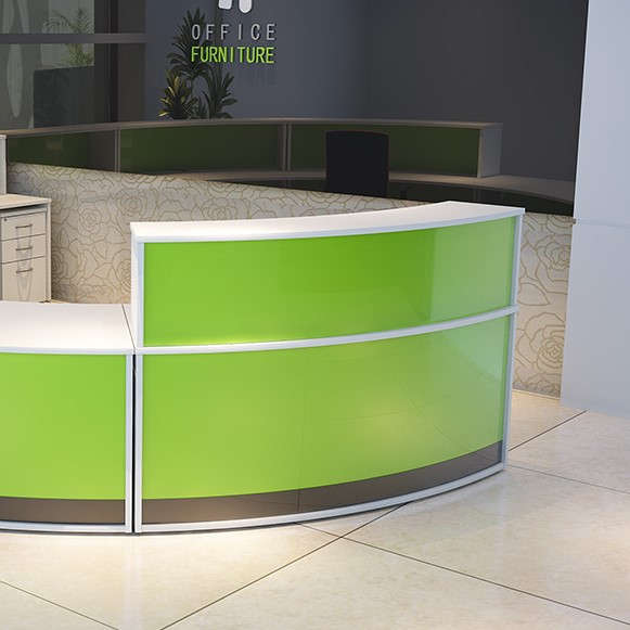 Section of reception counter white with green front