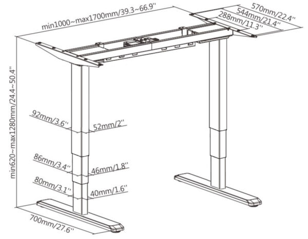 height adjustable frame dimension drawing