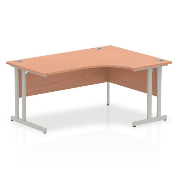 Beech Radial Right Hand Desk with Silver Legs