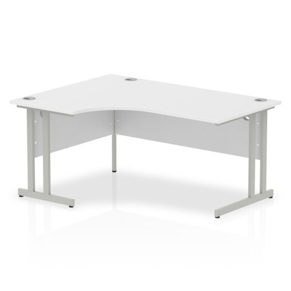 White Radial Left Hand Desk with Silver Legs