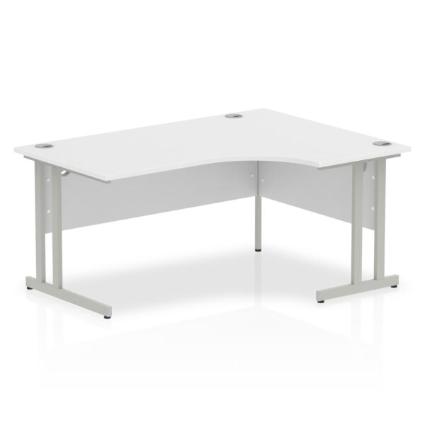 White Radial Right Hand Desk with Silver Legs
