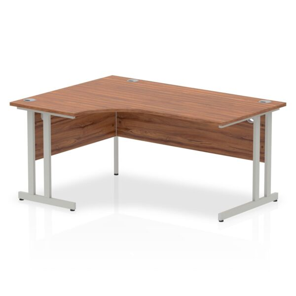 Walnut Radial Left Hand Desk with Silver Legs