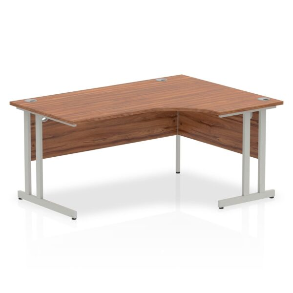 Walnut Radial Right Hand Desk with Silver Legs