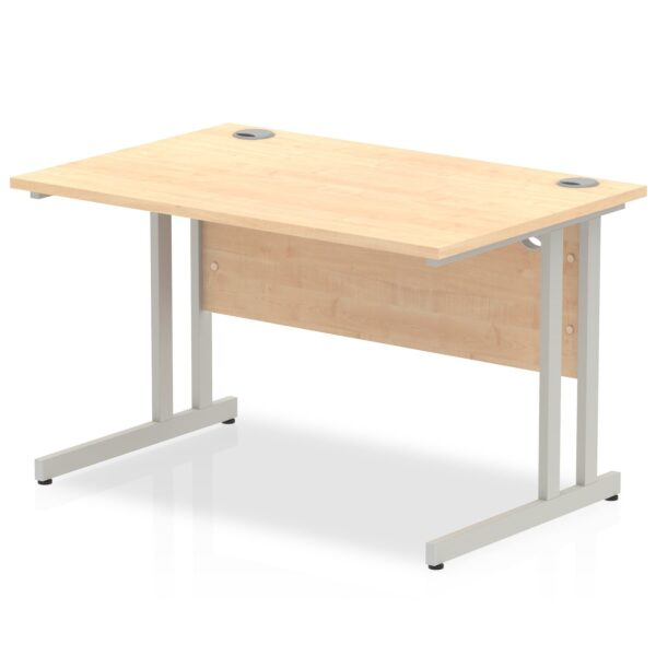 Maple straight desk with silver leg