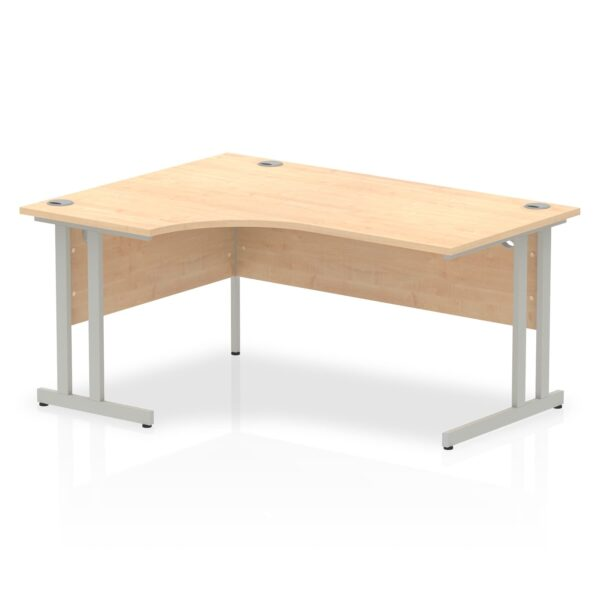 Maple Radial Left Hand Desk with Silver Legs