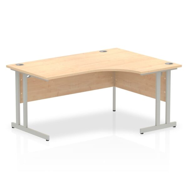 Maple Radial Right Hand Desk with Silver Legs