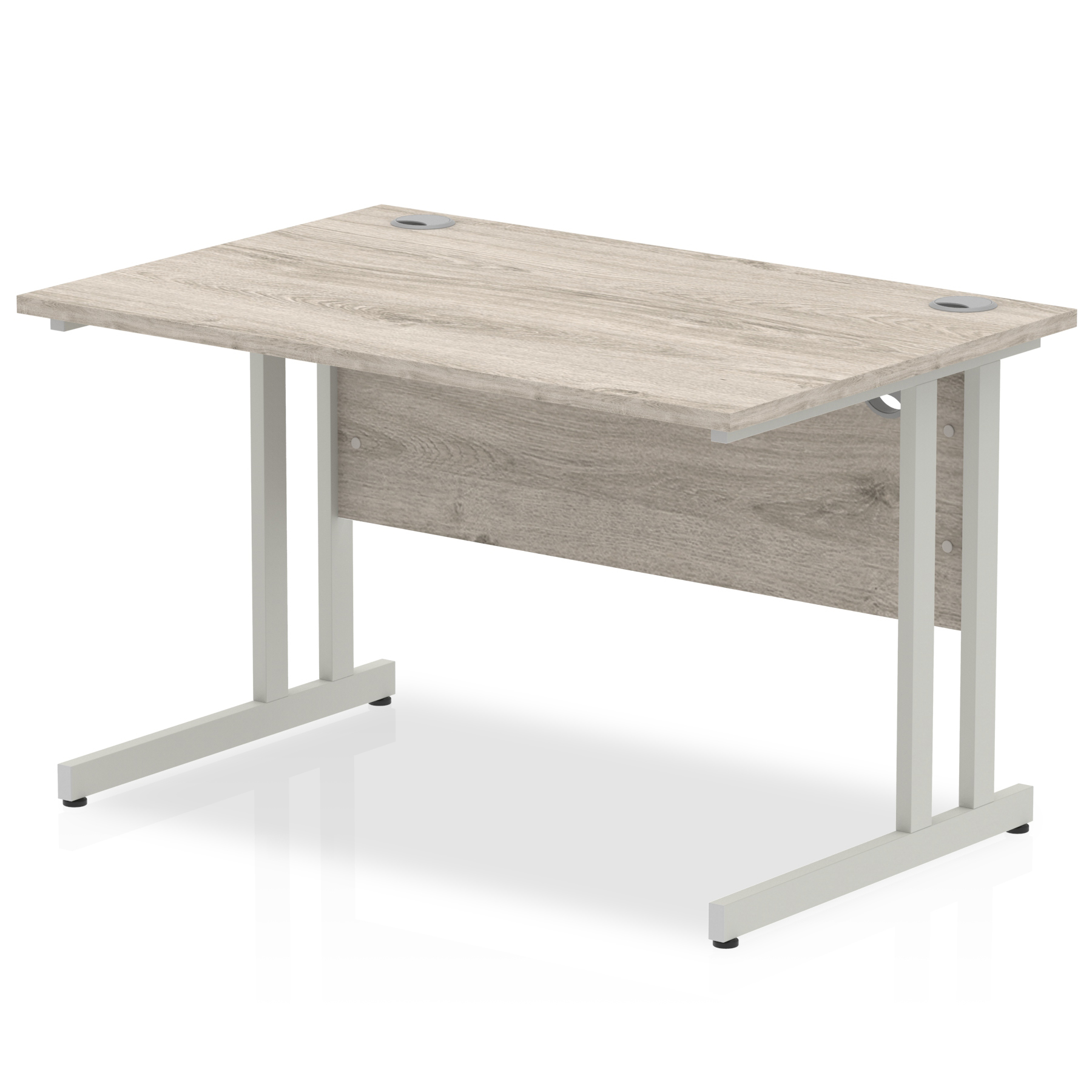 Grey Oak straight desk with silver leg