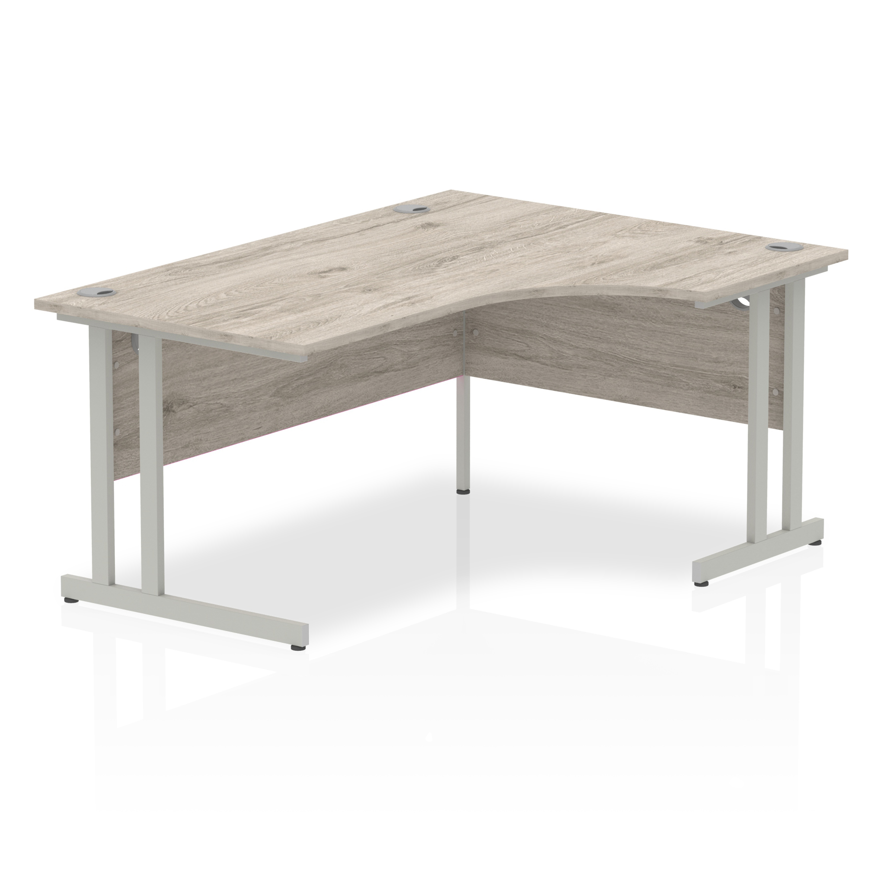 Grey Oak Radial Right Hand Desk with Silver Legs
