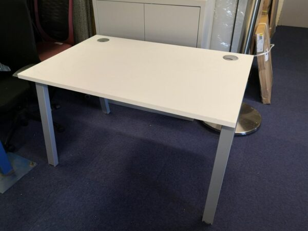 white 1200 wide desk with silver a frame legs