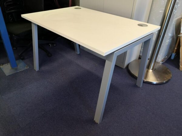 white 1200 wide desk with a frame legs at side view