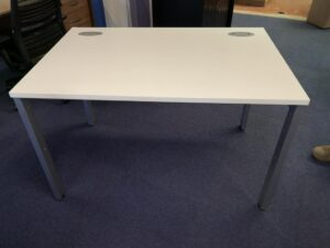 White 1200 wide desk with modesty panel and silver goal frame legs