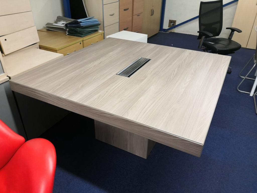Square Ash meeting table with cable management in the middle