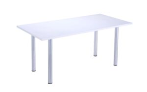 white rectangular table with silver legs 1600 wide 800 deep