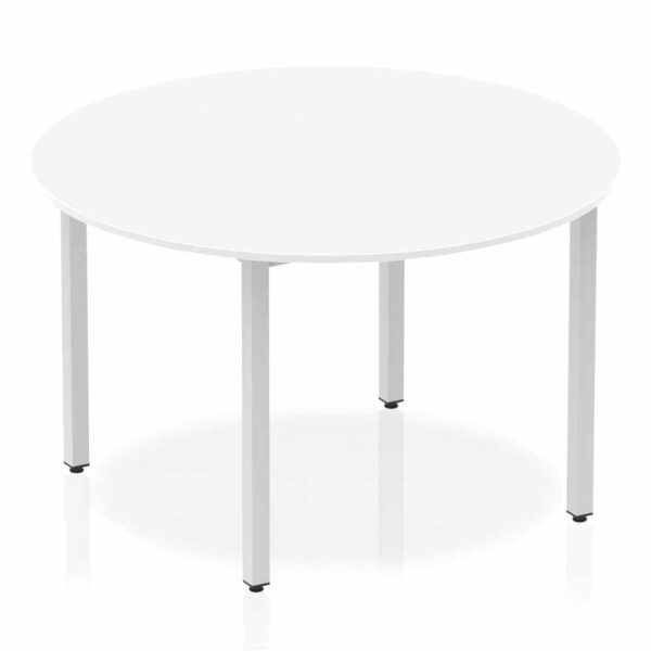 White Circular Box Frame Table