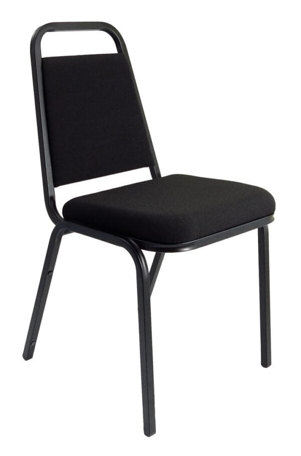 Stackable Banqueting Chair in black with black metal frame