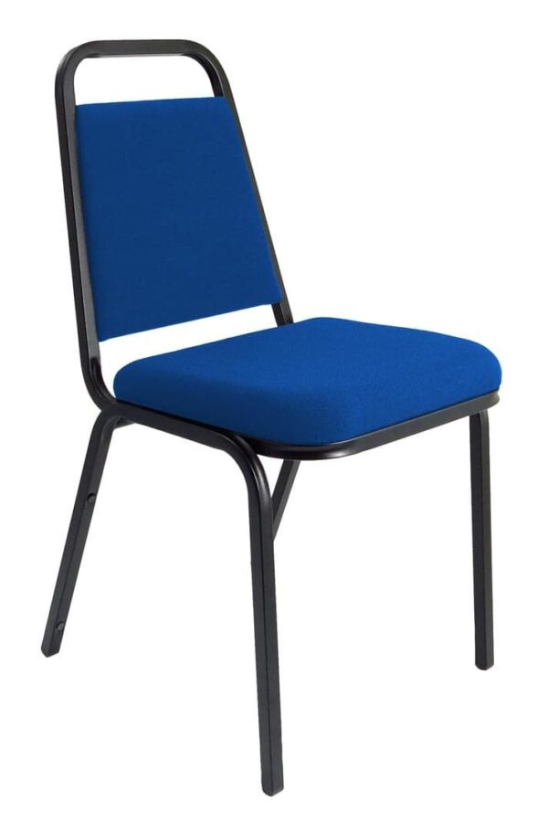 Stackable Banqueting Chair in blue with black metal frame