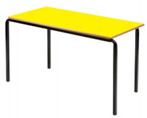 Stackable Table in yellow with no trim on a black metal frame