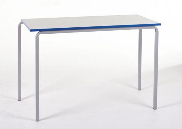 Stackable Table with white top and blue trim with a silver metal frame