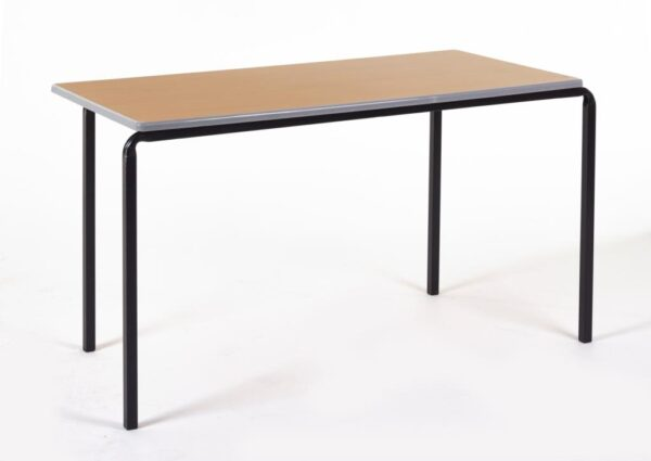 Stackable Table in beech with a silver trim on a black metal frame