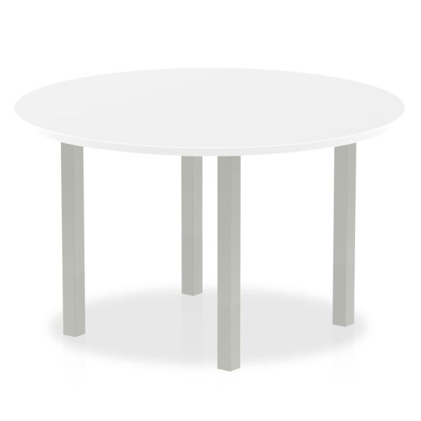 Circular Round Meeting Table with white top and silver coated legs available in different sizes