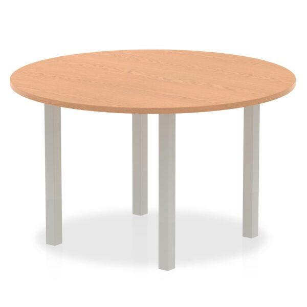 Circular Round Meeting Table with oak top and silver coated legs available in different sizes
