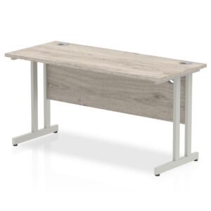 rectangular 1800 x 600 straight work station with cantilever legs in grey oak
