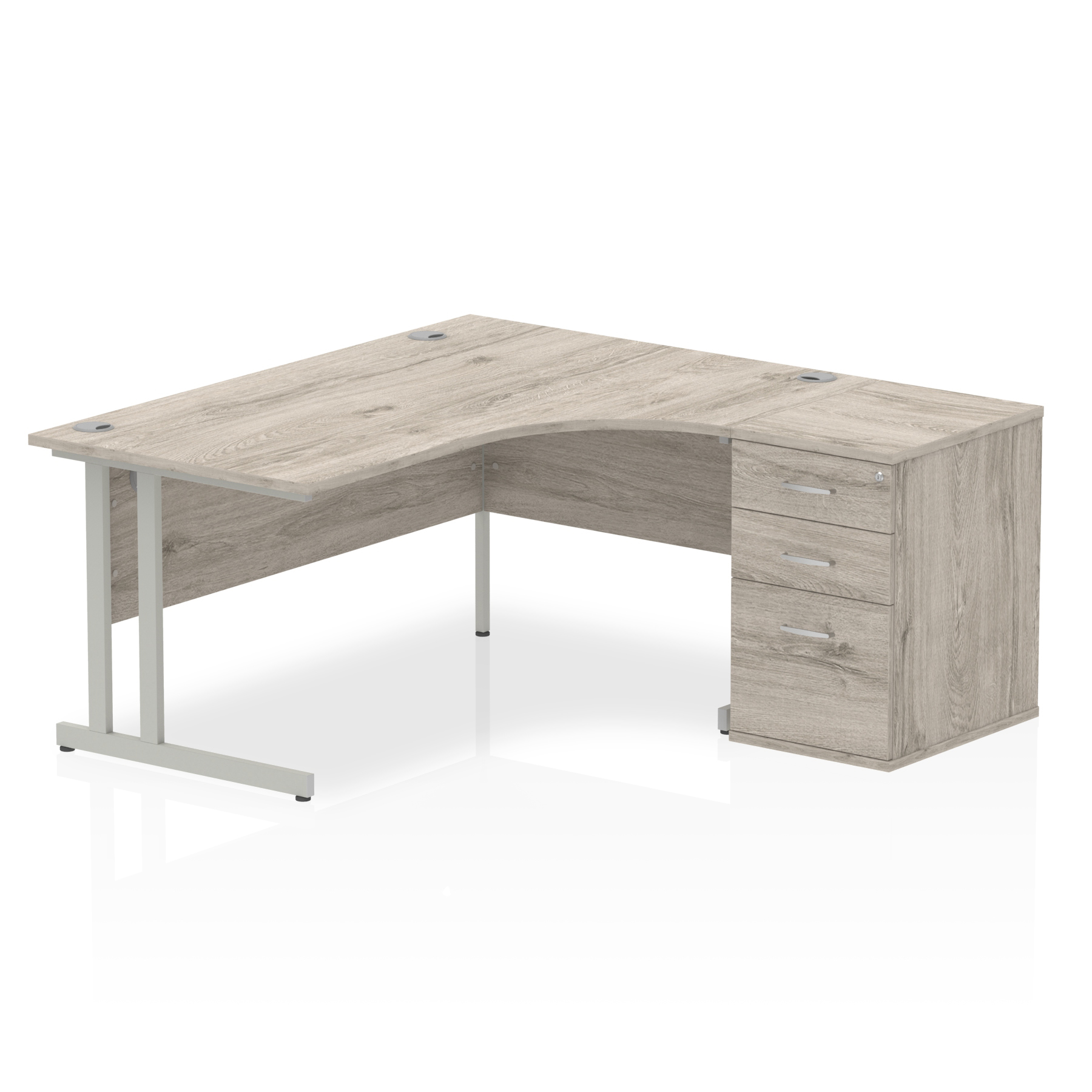 Grey Oak Right Hand Radial Desk and Ped Bundle