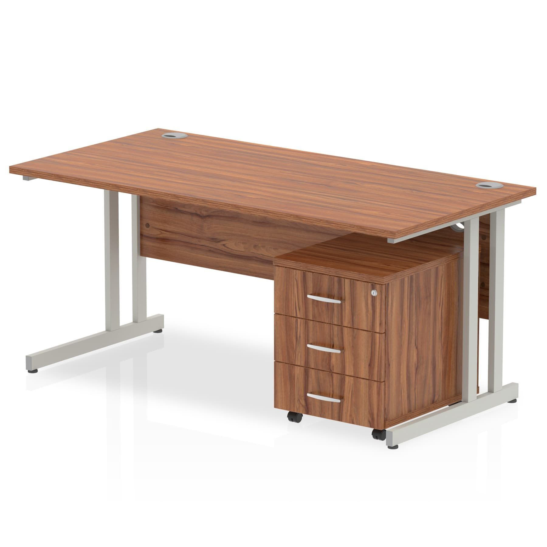 Walnut Straight Desk with 3 Drawer mobile pedestal