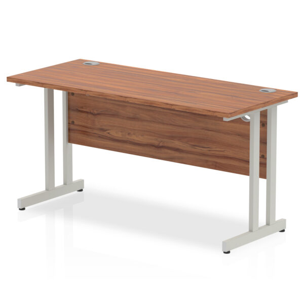 rectangular 1800 x 600 straight work station with cantilever legs in walnut