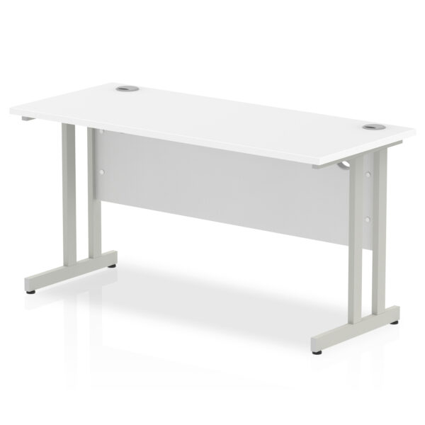 rectangular 1800 x 600 straight work station with cantilever legs in white