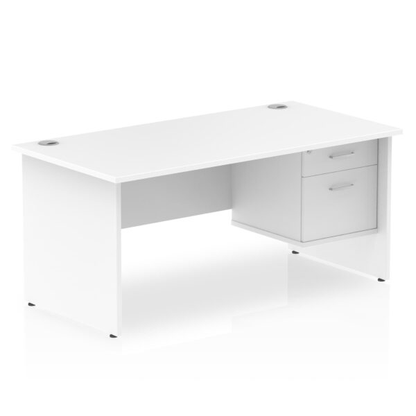 Rectangular Panel End Desk with 2 Drawer Fixed Pedestal in white