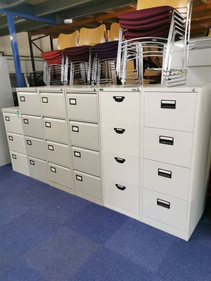 Grey filing cabinets