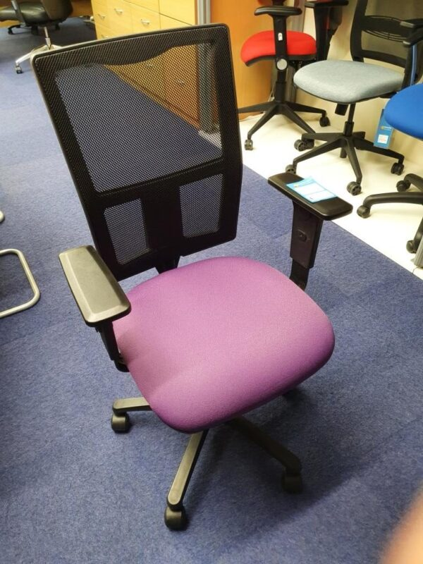 mesh chair used with purple seat