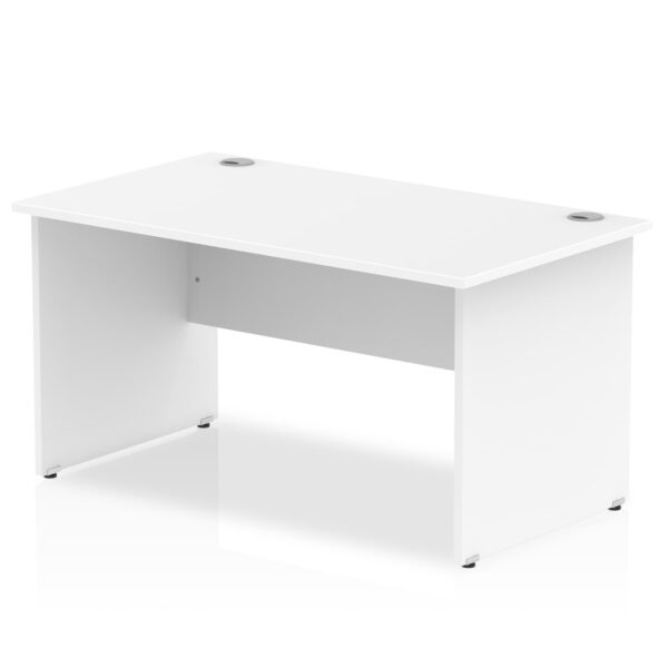 Straight Panel End Desk - White