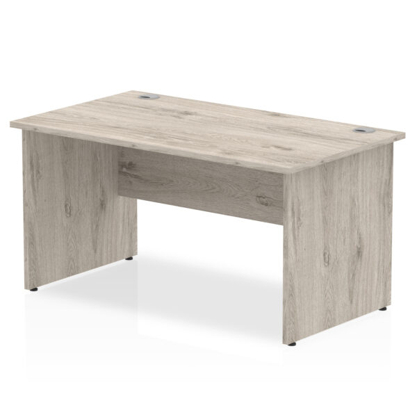 Straight Panel End Desk - Grey Oak